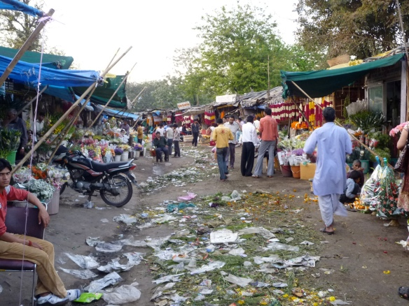Devastation at the end of the day at the flower market.