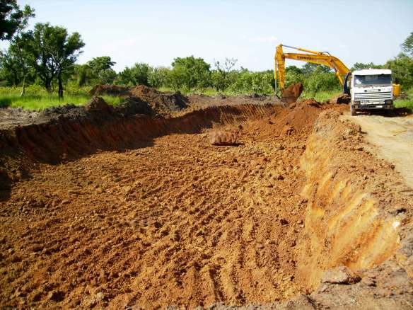 Digging up murrum for the road surfaces