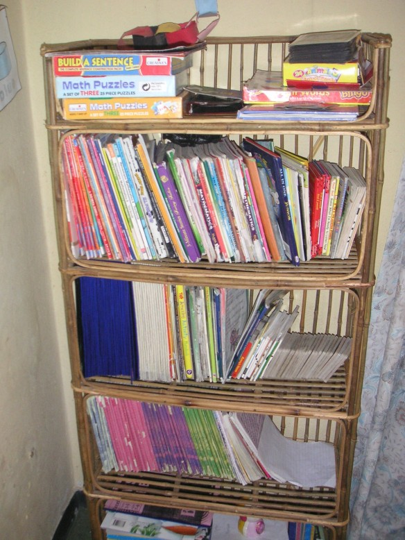 Bookshelves filled with books and things!