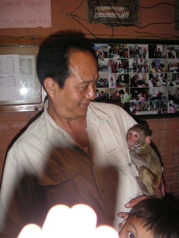 Man with a monkey