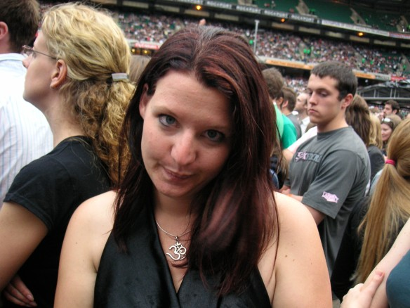 Not impressed with my black and red streaky hair! Although the guy behind me appears to be checking out my arse!