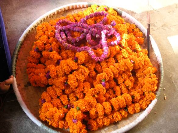 Lots of marigold wreaths