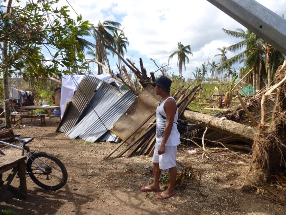 Temporary shelter under the tree that destroyed their house